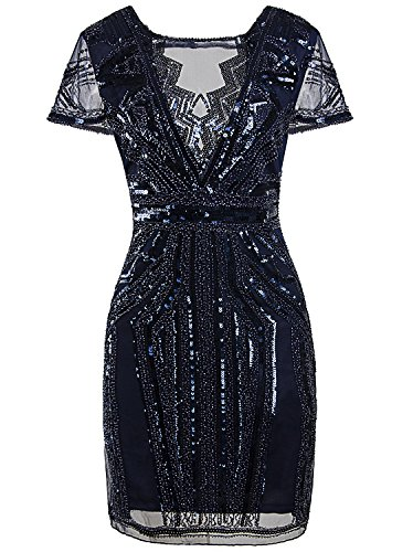 Vijiv 1920s Short Prom Dresses V Neck Inspired Sequins Cocktail Flapper Dress,Navy Blue,Large (Hand Beaded Formal Dress)