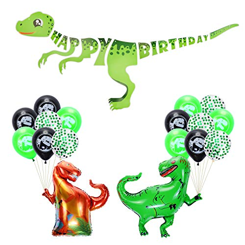 AKINGSHOP Dinosaur Party Supplies,  Dinosaur Happy Birthday Banner Jurassic World Party Supplies Baby Dinosaur Party Decorations Set Green Dino Party Balloons Cake Toppers for Kids Birthday(Style 1)