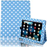 HDE iPad 1 Case - Slim Fit Leather Cover Stand Folio with Magnetic Closure for Apple iPad 1 1st Generation (Blue & White Polka Dot)