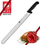 #8: 12-inch Blade Granton Edge, Turkey, Salmon, ham Slicer, Meat Slicing Knife. NSF Certified, German Steel,Knife sharpening instruction included, Best Knife to Slice Large Roast and Whole Turkey.