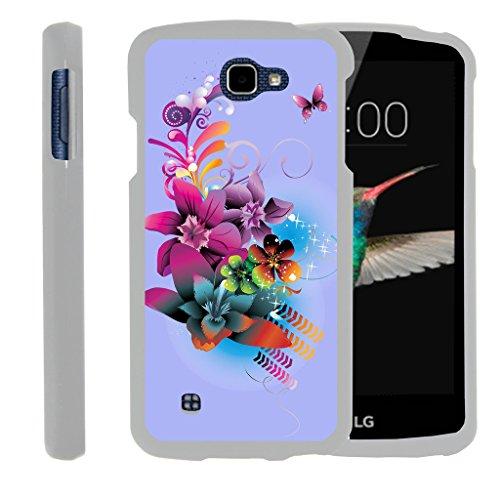 MINITURTLE Case Compatible w/ [LG K4 Case, LG Optimus Zone 3 Case, LG Spree, LG Rebel Slim Cover] -[Snap Shell] Slim 2 Piece Rubberized Hard White Case - Purple Flower -