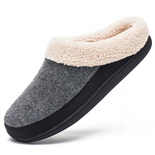 House Slippers for Men Memory Foam Home Footwear Winter Warm Cotton Shoes(X-Large / 11-12,Light Grey/Black) ()