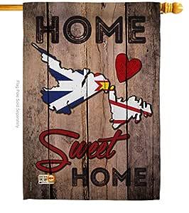 """Ornament Collection-Canadá Provincias de Terranova y Labrador Home Sweet Home-banderas del mundo-día impresiones decorativo vertical casa bandera 28""""X 40"""" impreso en EE. UU."""