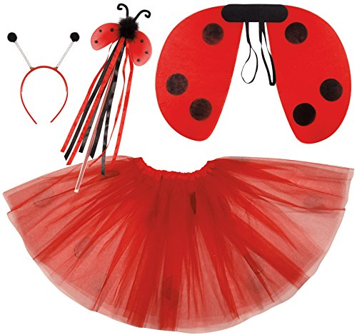 Ladybug Costume Wings (Loftus International Ladybug Wings Skirt Headband Wand Girls 4pc Costume Set Red Black One-Size Novelty Item)