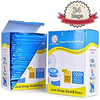 Diaper Pail Refill Bags, Fully Compatible with Arm&Hammer Disposal System,1020 Counts, 34 Bags