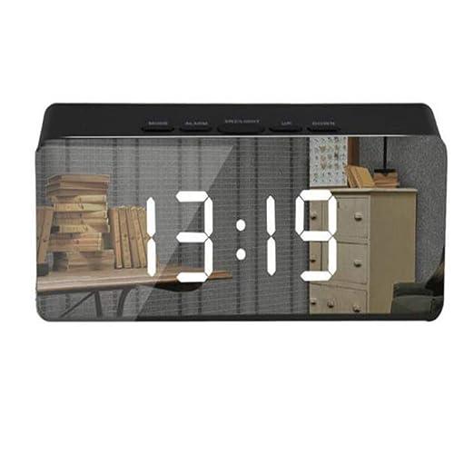SKYyao Reloj Alarma con Espejo Led Reloj Mesa con RepeticióN ...