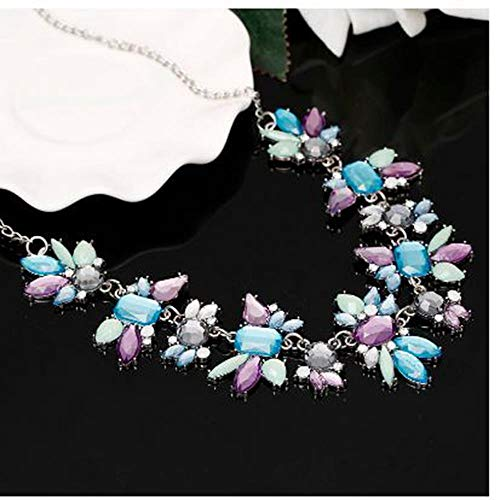 HNJingSilver Statement Necklaces Crystal Maxi Necklace for Women Female Chain Collar Fashion Boho Jewelry, - Crystal Engravable Austrian
