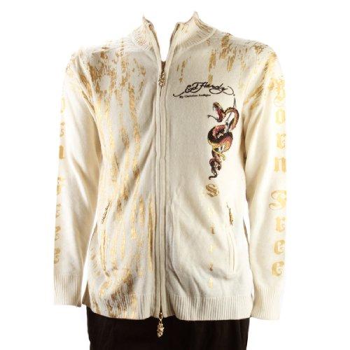 Ed Hardy Mens Fire Snake With Rhinestone Sweater - White - X-Large