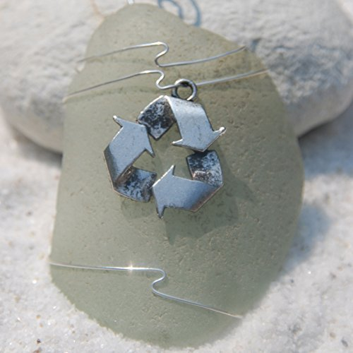 Custom Surf Tumbled Sea Glass Ornament with a Silver Recycle Charm - Choose Your Color Sea Glass Frosted, Green, and Brown.