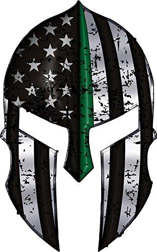 Warriors-Bleed-Green-Spartan-Helmet-Metallic-Thin-Blue-Line-Decal