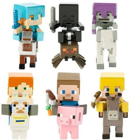 Rider Mini Figure - Minecraft Deluxe Mini Figures Character & Rider Series 1 (Set of 6)