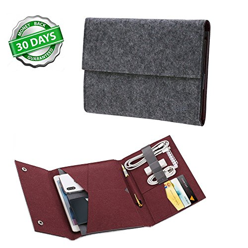 Tablet Sleeve Case Cover for iPad Felt Carrying Case Pocket Protector Bag for IPad Mini 7.9 Inch with Phone Cards Apple Pencil Cable Holder Small Things Storage (Ipad Mini, (Felt Wire)