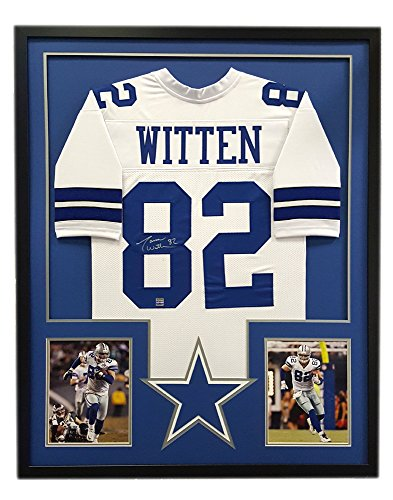 Jason Witten Autographed/Signed Dallas Custom Framed White Jersey - Cut Decal