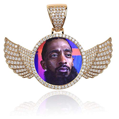(GUCY Personalized Custom Photo Memory Pendants Charm Medallions Solid Necklace with Tennis Chain Men's Hip Hop Fashion Jewelry (Gold-Angel Wing, 24.00))
