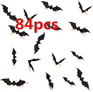 Halloween 3D Bats Decoration, Hallowmas Party Supplies Scary Bat Sticker for Home Decor DIY Window Decal Bathroom Indoor (84PCS)