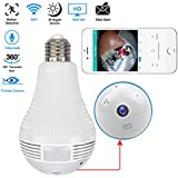 WiFi Light Bulb IP Camera 360 Degree Wireless Security Hidden HD 1080P Two-Way Audio Home Security Surveillance Camera Support iPad/iPhone/Android Phone