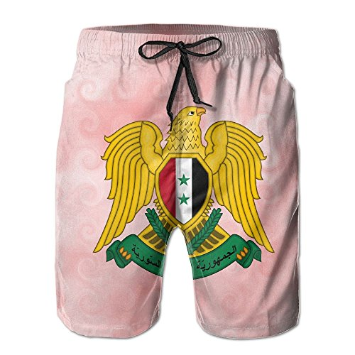 Qinf New Cartoon Fashion Coat Of Arms Of Syria Summer Beach Pants Casual Shorts For Man by Qinf (Image #1)
