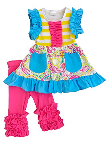 (Toddler Little Girls Summer Holiday & Back to School Paisley Ruffles Stripes Set)