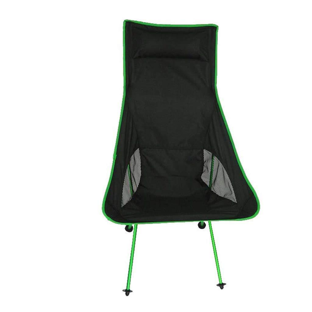 GaLon Sedia da Campeggio Pieghevole per Esterni, poltroncina da Pesca Portatile Ultraleggera Sedia reclinabile in Alluminio per Aeronautica in Tessuto di Oxford (Colore   verde)