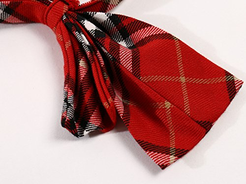 Beautifulfashionlife Unisex Pre-Tied Adjustable Tartan Bow tie or Necktie