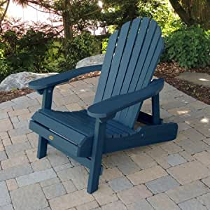 Folding Adirondack Chair, Outdoor Furniture, Reclining Chair, Ideal for Porch and Garden, Made from Synthetic Wood, Multiple Colors + Expert Guide (Nantucket Blue)