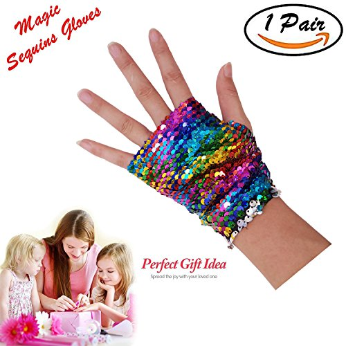 Sequins Gloves - Magic Sequin Fingerless Mermaid Gloves Dragon Paws Reversible Bracelet- Dance Birthday Party Favors Christmas Gifts for Kids Girls Women (Rainbow)