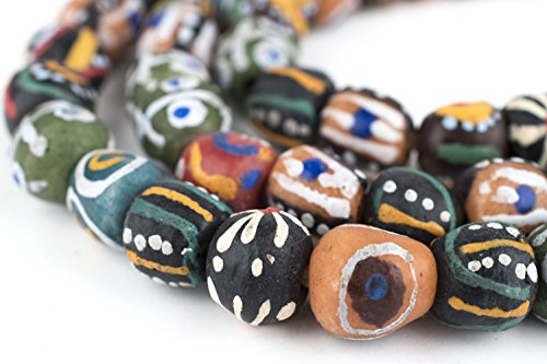 TheBeadChest Painted African Krobo Beads - Full Strand of Ghanaian Tribal Glass Beads for Necklace or Jewelry Making (Sunyani Medley)