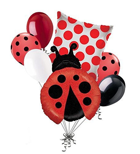 7 pc Little Lady Bug Balloon Bouquet Party Decoration Happy Birthday Baby Shower by Jeckaroonie Balloons
