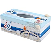 SUNONE11 Mediterranean Style Boats Lighthouse Wooden Napkin Organizer Holder Fishing nets Shell Starfish Tissue Box Rectangular Paper Towel Box Home Decoration