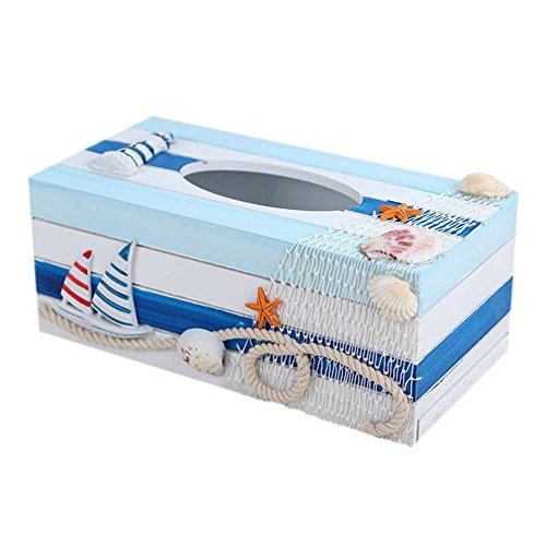 SUNONE11 Mediterranean Style Boats Lighthouse Wooden Napkin Organizer Holder Fishing nets Shell Starfish Tissue Box Rectangular Paper Towel Box Home Decoration (Tissue Fishing Box)