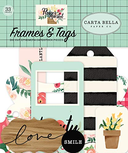 Carta Bella Paper Company CBMK96025 Flower Market Frames & Tags Ephemera Teal, Pink, tan, Green, Cream