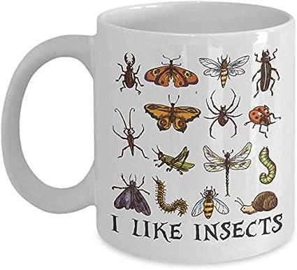 Leonat Taza de entomología, Taza de café de Insectos, Taza de Insecto de cerámica, Taza de jardineros, Taza de Escarabajo, Taza de Diagrama de Insectos, Tazas de Pupas de Larvas, Regalos de