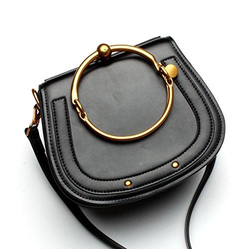 De black Bolso Classic Hombro Portasilla Bolsa Bolsa Caramelo Messenger Metal De Hombro Bolso Hembra GUANGMING77 Bolso Pequeño Color 57waxRzTq