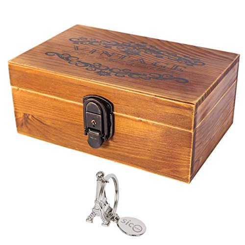 SiCoHome Treasure Chest with Lock and Key,Vintage Wood Decorative Box for Gifts,Storage and Home Decor