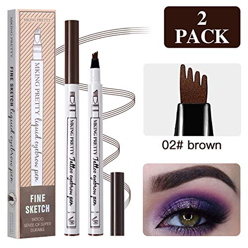 (2 Pcs Tattoo Eyebrow Pen Brown, Waterproof Microblading Eyebrow Tattoo Pencil with a Micro Fork Tip Applicator Effortlessly and Stays on All Day for Eyes Makeup)