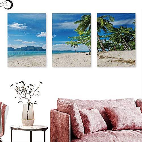 Mannwarehouse Landscape Wall hangings Exotic Botanic Island Near Seashore Palms Mountains Clear Open Sky Photo Triptych Art Blue Cream Green W 16