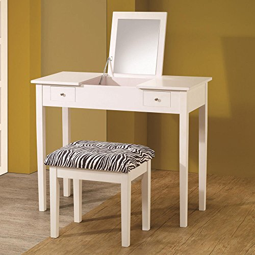 1PerfectChoice White Vanity Makeup Table Lift Top Mirror Storage Drawers  Zebra