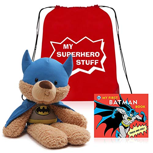 - My First Super Hero Set - Batman Teddy Bear - My First Batman Board Book - Book Bag Tote