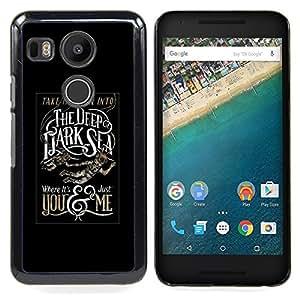 - Deep Dark Sea Black Poster Text/ Duro Snap en el tel????fono celular de la cubierta - Cao - For LG Google Nexus 5X