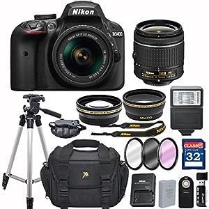 Nikon D3400 DX-format Digital SLR w/ AF-P DX NIKKOR 18-55mm f/3.5-5.6G VR + 32GB Memory Accessory Bundle – International Version