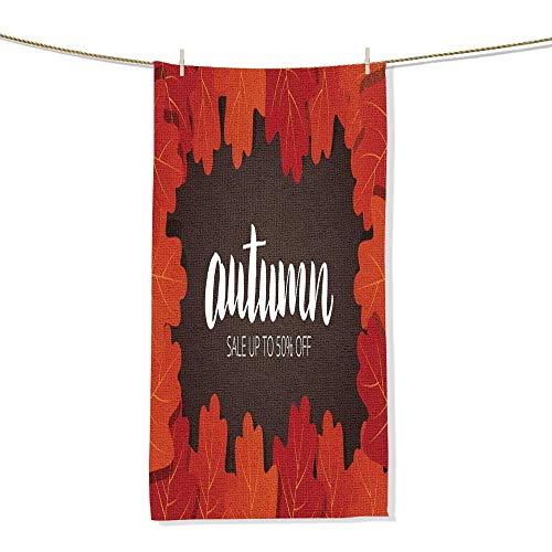 FootMarkhome Microfiber Beach Towel Autumn Sale Banner Background of Fall Oak Leaves and Autumn Lettering Beach Blanket, Towels, Best for Outdoor -Size:7.9