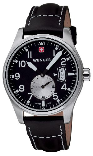 Wenger Men's 72470 AeroGraph Vintage Black Dial Black Leather Watch