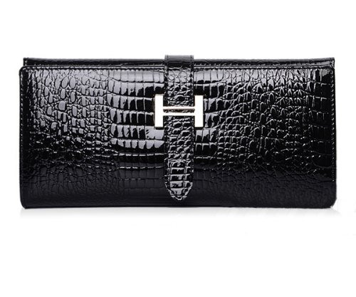 (Eonice Fashion Womens Wallet Croco Embossed Genuine Leather Wallet Women Purse Black)