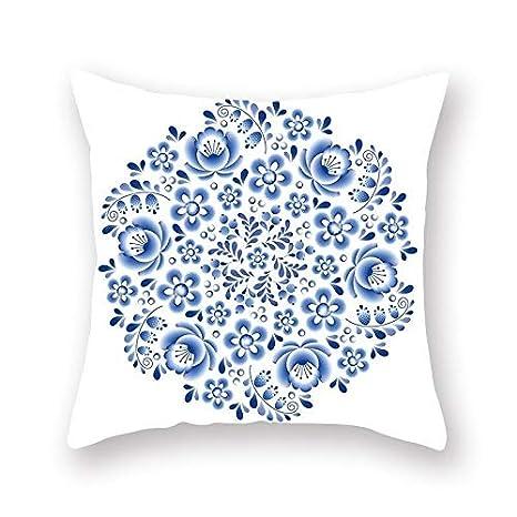 KDTCDBYMX Fundas para Cojines Lino Azul Geométrica Mandala ...