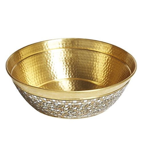 Sinkology SB302-16CH Shockley Round Solid Brass Vessel Sink with Hand Applied Champagne Glass Mosaics, 16