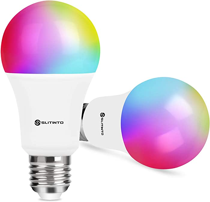Smart WiFi LED Light Bulb Dimmable 9W 1000Lm, SLITINTO E26 Multicolor Light Bulb Compatible with Alexa, Echo, Google Home and IFTTT(No Hub Required), A19 90W Equivalent RGB Color Changing Bulb-2 Pack