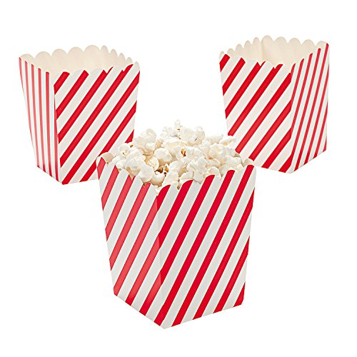 Paper White Striped Popcorn Boxes