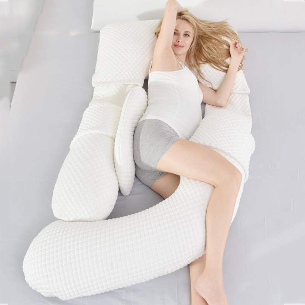 LQSTRAY Pregnant Pillows Protect The Waist Pillow Side Sleep Pillow U - Shaped Multifunctional Memory Cotton Sleep in Pregnancy with The Belly Pillow,White