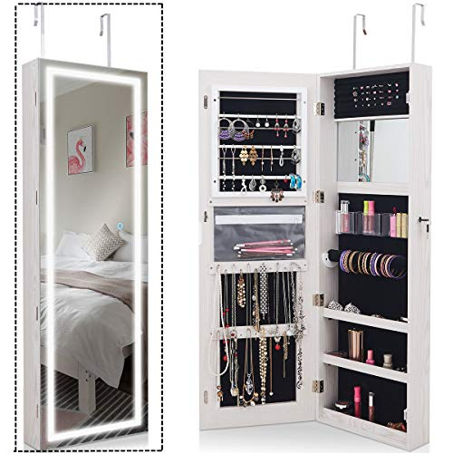 oldzon Door Wall Mount Touch Screen LED Light Mirrored Jewelry Cabinet Storage Lockable with Ebook ()