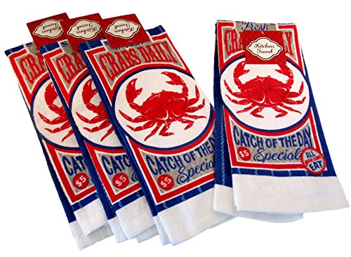 - Capes Treasures Summertime Nautical 100% Cotton Dish Towels - Set of 4 (Red Crab Catch of The Day)